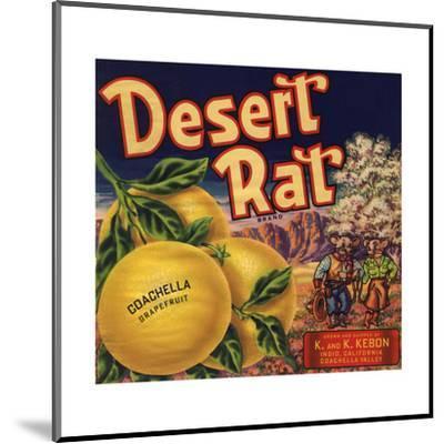 Desert Rat Brand - Indio, California - Citrus Crate Label-Lantern Press-Mounted Art Print