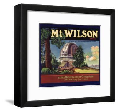 Mt Wilson Brand - Lamanda Park, California - Citrus Crate Label-Lantern Press-Framed Art Print