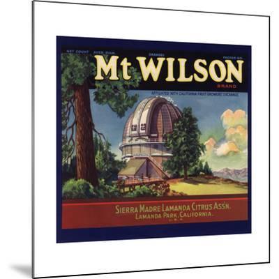 Mt Wilson Brand - Lamanda Park, California - Citrus Crate Label-Lantern Press-Mounted Art Print