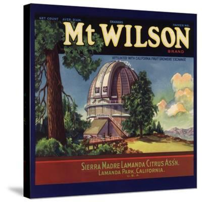 Mt Wilson Brand - Lamanda Park, California - Citrus Crate Label-Lantern Press-Stretched Canvas Print