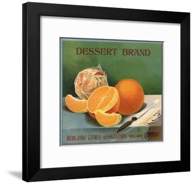 Dessert Brand - Redlands, California - Citrus Crate Label-Lantern Press-Framed Art Print
