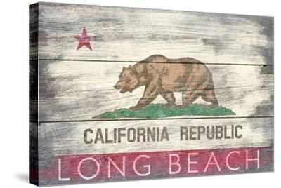 Long Beach, California - Barnwood State Flag-Lantern Press-Stretched Canvas Print