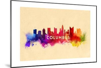 Columbus, Ohio - Skyline Abstract-Lantern Press-Mounted Art Print
