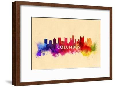 Columbus, Ohio - Skyline Abstract-Lantern Press-Framed Art Print
