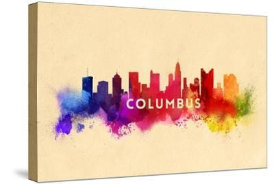 Columbus, Ohio - Skyline Abstract-Lantern Press-Stretched Canvas Print