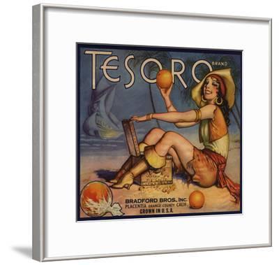 Tesoro Brand - Placentia, California - Citrus Crate Label-Lantern Press-Framed Art Print