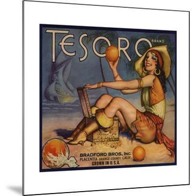 Tesoro Brand - Placentia, California - Citrus Crate Label-Lantern Press-Mounted Art Print