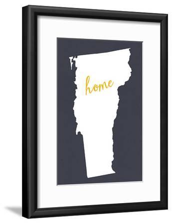 Vermont - Home State - White on Gray-Lantern Press-Framed Art Print