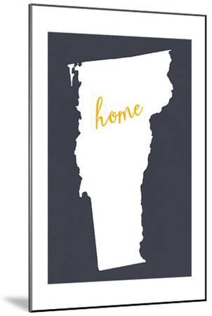 Vermont - Home State - White on Gray-Lantern Press-Mounted Art Print