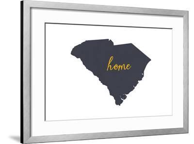 South Carolina - Home State - Gray on White-Lantern Press-Framed Art Print