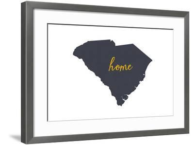 South Carolina - Home State - Gray on White-Lantern Press-Framed Art Print