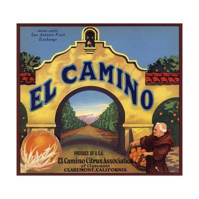 El Camino Brand - Claremont, California - Citrus Crate Label-Lantern Press-Framed Art Print