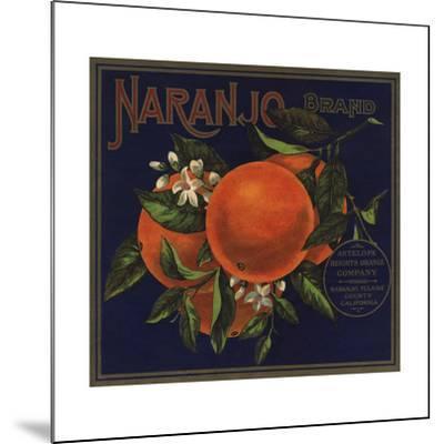 Naranjo Brand - Naranjo, California - Citrus Crate Label-Lantern Press-Mounted Art Print