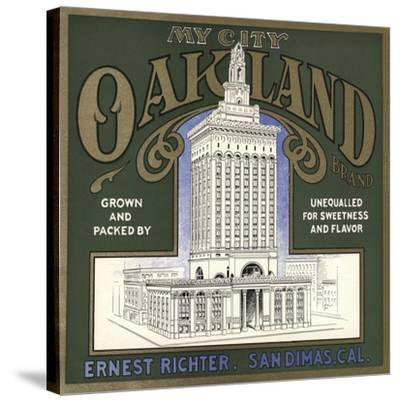My City Oakland Brand - San Dimas, California - Citrus Crate Label-Lantern Press-Stretched Canvas Print