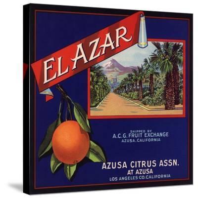 El Azar Brand - Azusa, California - Citrus Crate Label-Lantern Press-Stretched Canvas Print