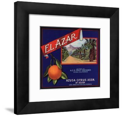 El Azar Brand - Azusa, California - Citrus Crate Label-Lantern Press-Framed Art Print