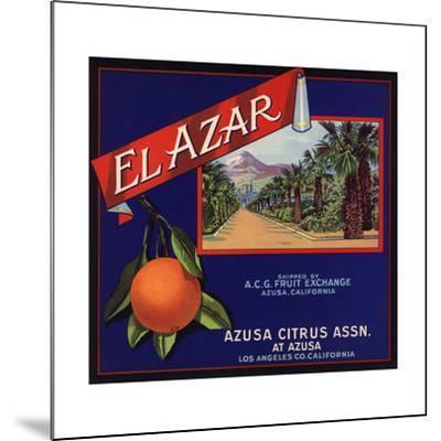 El Azar Brand - Azusa, California - Citrus Crate Label-Lantern Press-Mounted Art Print