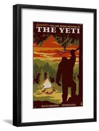 Gatlinburg, Tennessee - Youre Being Watched by the Yeti-Lantern Press-Framed Art Print