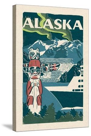 Alaska - Woodblock-Lantern Press-Stretched Canvas Print