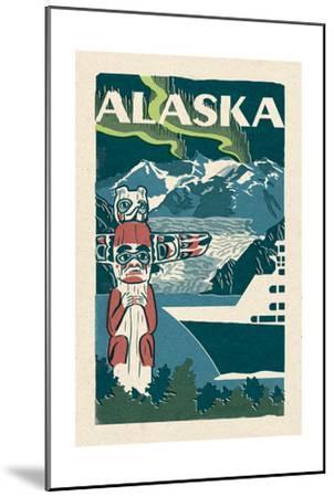 Alaska - Woodblock-Lantern Press-Mounted Art Print