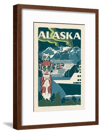 Alaska - Woodblock-Lantern Press-Framed Art Print