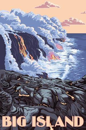 Hawaii - Big Island - Lava Flow Scene-Lantern Press-Framed Art Print