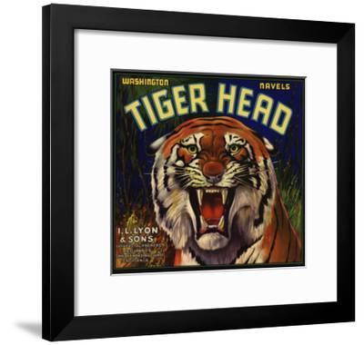 Tiger Head Brand - Redlands, California - Citrus Crate Label-Lantern Press-Framed Art Print