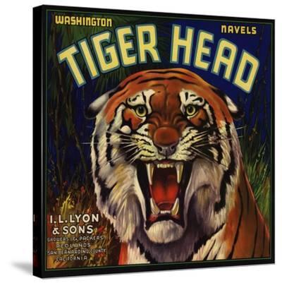Tiger Head Brand - Redlands, California - Citrus Crate Label-Lantern Press-Stretched Canvas Print