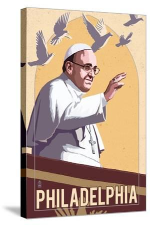 Philadelphia, Pennsylvania - Pope and Doves - Lithography Style-Lantern Press-Stretched Canvas Print