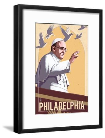 Philadelphia, Pennsylvania - Pope and Doves - Lithography Style-Lantern Press-Framed Art Print