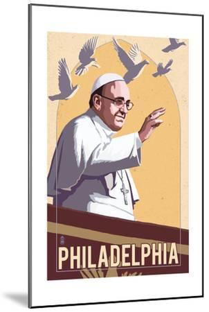 Philadelphia, Pennsylvania - Pope and Doves - Lithography Style-Lantern Press-Mounted Art Print