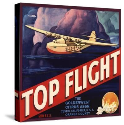 Top Flight Brand - Tustin, California - Citrus Crate Label-Lantern Press-Stretched Canvas Print
