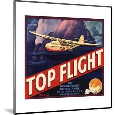 Top Flight Brand - Tustin, California - Citrus Crate Label-Lantern Press-Mounted Art Print