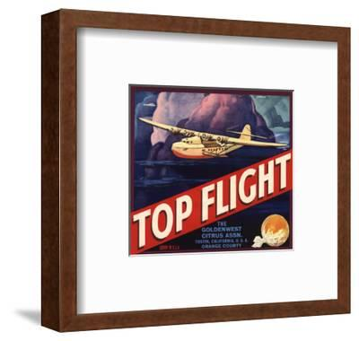 Top Flight Brand - Tustin, California - Citrus Crate Label-Lantern Press-Framed Art Print