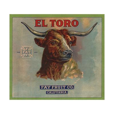 El Toro Brand - California - Citrus Crate Label-Lantern Press-Art Print