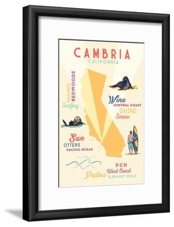 Cambria, California - Typography and Icons Art Print by Lantern Press |  Art com