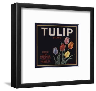 Tulip Brand - Porterville, California - Citrus Crate Label-Lantern Press-Framed Art Print