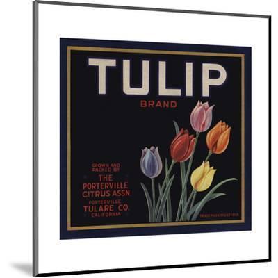 Tulip Brand - Porterville, California - Citrus Crate Label-Lantern Press-Mounted Art Print
