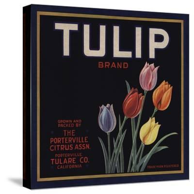 Tulip Brand - Porterville, California - Citrus Crate Label-Lantern Press-Stretched Canvas Print