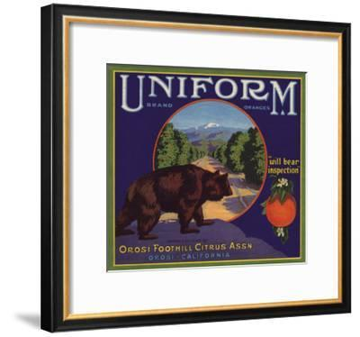 Uniform Brand - Orosi, California - Citrus Crate Label-Lantern Press-Framed Art Print