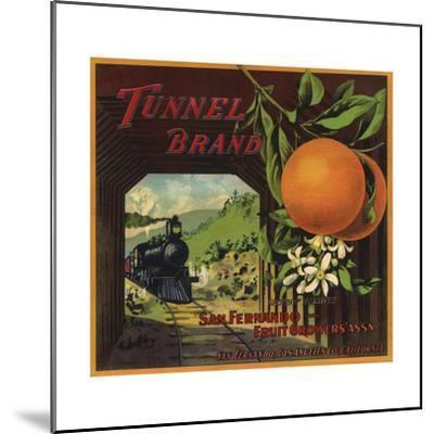 Tunnel Brand - San Fernando, California - Citrus Crate Label-Lantern Press-Mounted Art Print