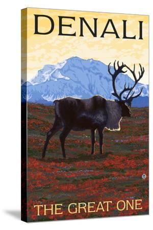 Denali, Alaska - the Great One - Caribou-Lantern Press-Stretched Canvas Print