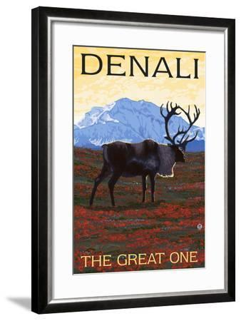 Denali, Alaska - the Great One - Caribou-Lantern Press-Framed Art Print