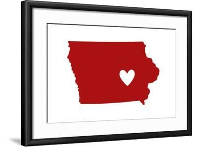 Iowa - State Outline and Heart-Lantern Press-Framed Art Print