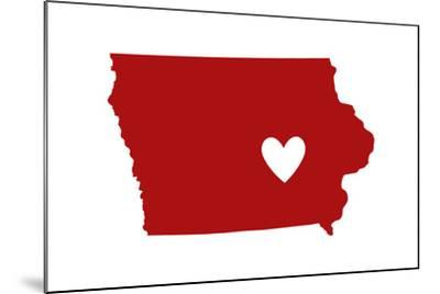Iowa - State Outline and Heart-Lantern Press-Mounted Art Print