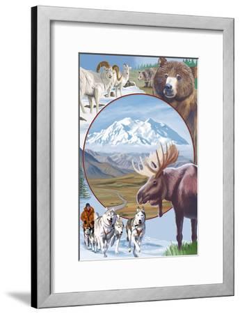 Image Only - Wildlife Montage Scenes-Lantern Press-Framed Art Print