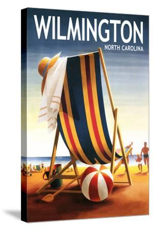 Wilmington, North Carolina - Beach Chair and Ball-Lantern Press-Stretched Canvas Print