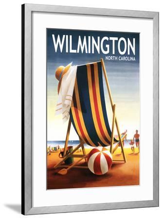 Wilmington, North Carolina - Beach Chair and Ball-Lantern Press-Framed Art Print
