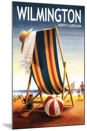 Wilmington, North Carolina - Beach Chair and Ball-Lantern Press-Mounted Art Print