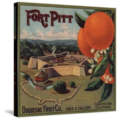 Fort Pitt Brand - Charter Oak, California - Citrus Crate Label-Lantern Press-Stretched Canvas Print